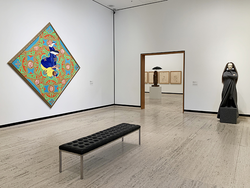 Works by (from left) Kehinde Wiley, Jean-Michel Basquiat, Marisol, and Judith Shea are on view at Sheldon in the exhibition Person of Interest through July 3, 2021.