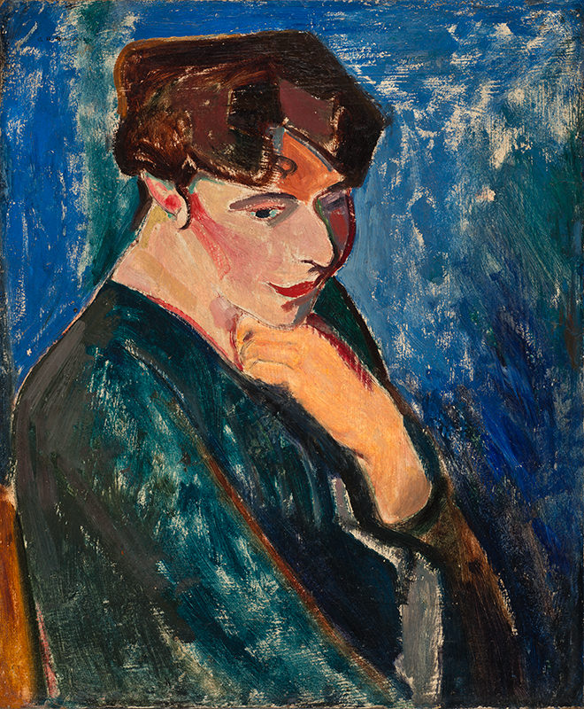 Woman with Blue Background (Portrait of a Woman) by Alfred Henry Maurer
