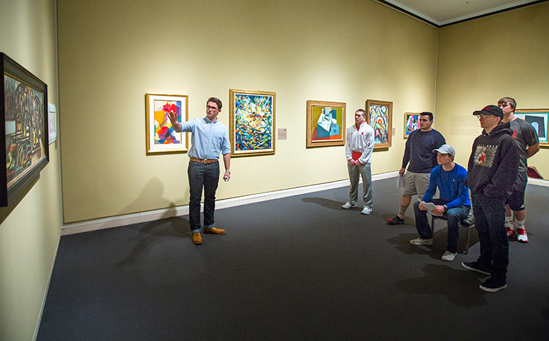 Students in Sheldon's permanent collection galleries
